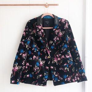 Black Floral Velvet Blazer